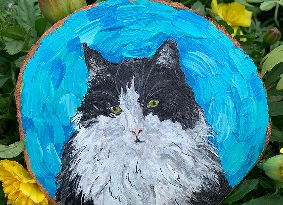 """Oreo"" cat acrylic paint on wood slice"