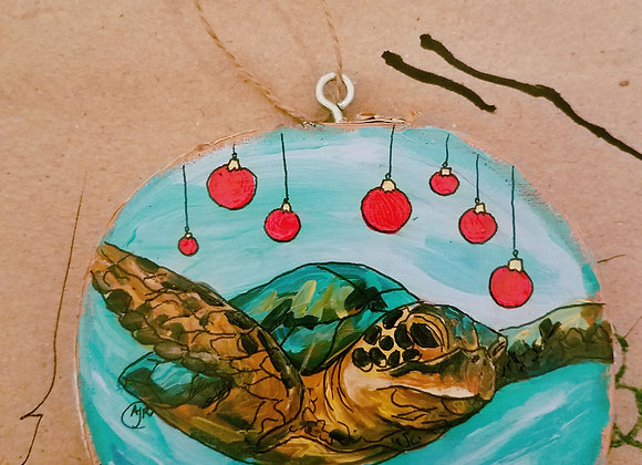 Sea turtle and ornaments hanging ornament