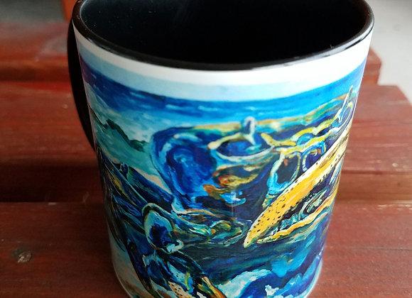 Blue fiddler crab black 11 oz coffee mug