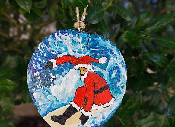 Side Santa surfing Ornament