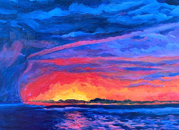"""""""Changing weather"""" colorful acrylic painting"""