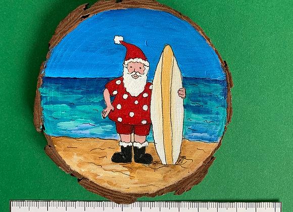Swimsuit Santa hand painted ornament