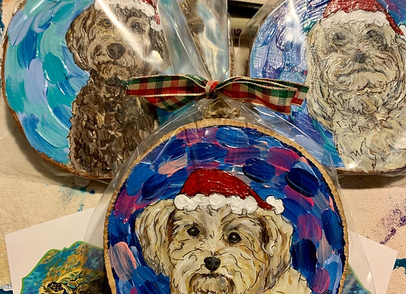 """Rosebud and Piper"" hand painted dog ornaments"