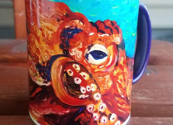 Octopus 11 oz Navy coffee mug