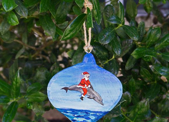 Santa Riding a dolphin ornament