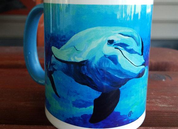 Dolphin light blue 11 oz coffee mug
