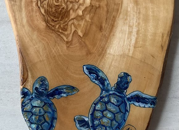 Baby Sea turtle close up cutting/charcuterie board