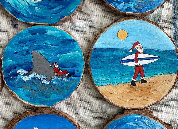 Sea turtle, long horn, surfing Santa, dolphin, 18 ornaments