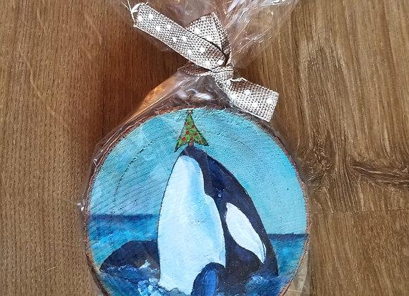 Whale balancing Christmas tree ornament