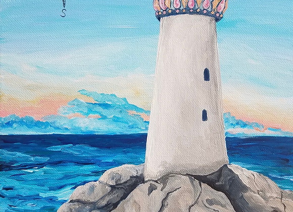 Lighthouse and rocks acrylic painting by Amber Ruehe
