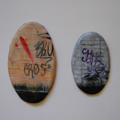 BA Project, painted scenes and collage on clay
