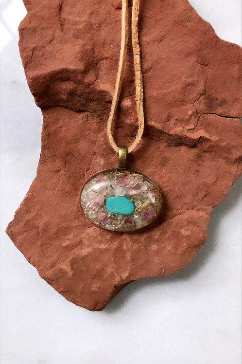 Turquoise Rose Quartz Pink Tourmaline Pendant