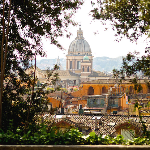 View of Rome rooftops.