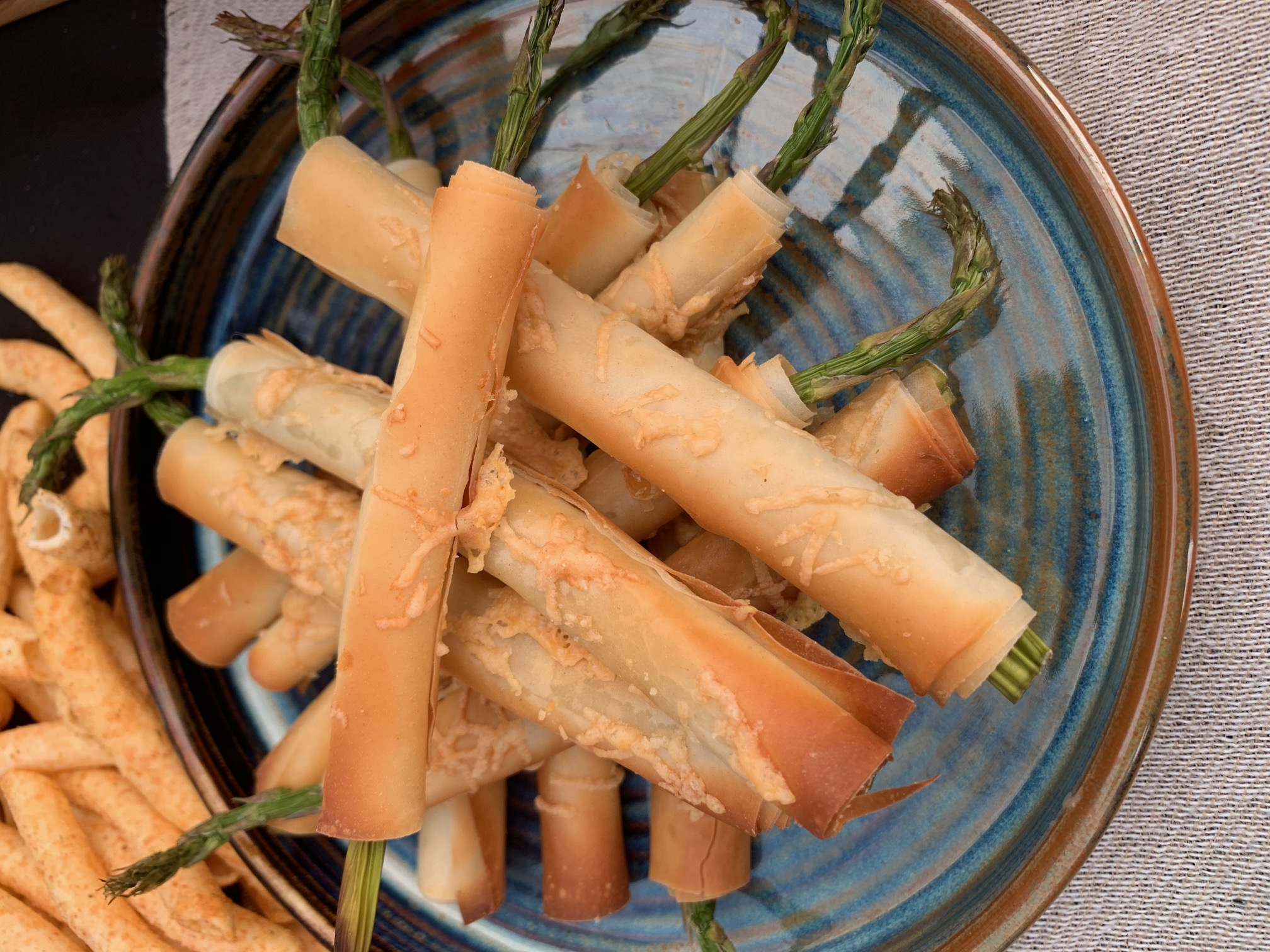 Asparagus wrapped in filo with parmesan (v)