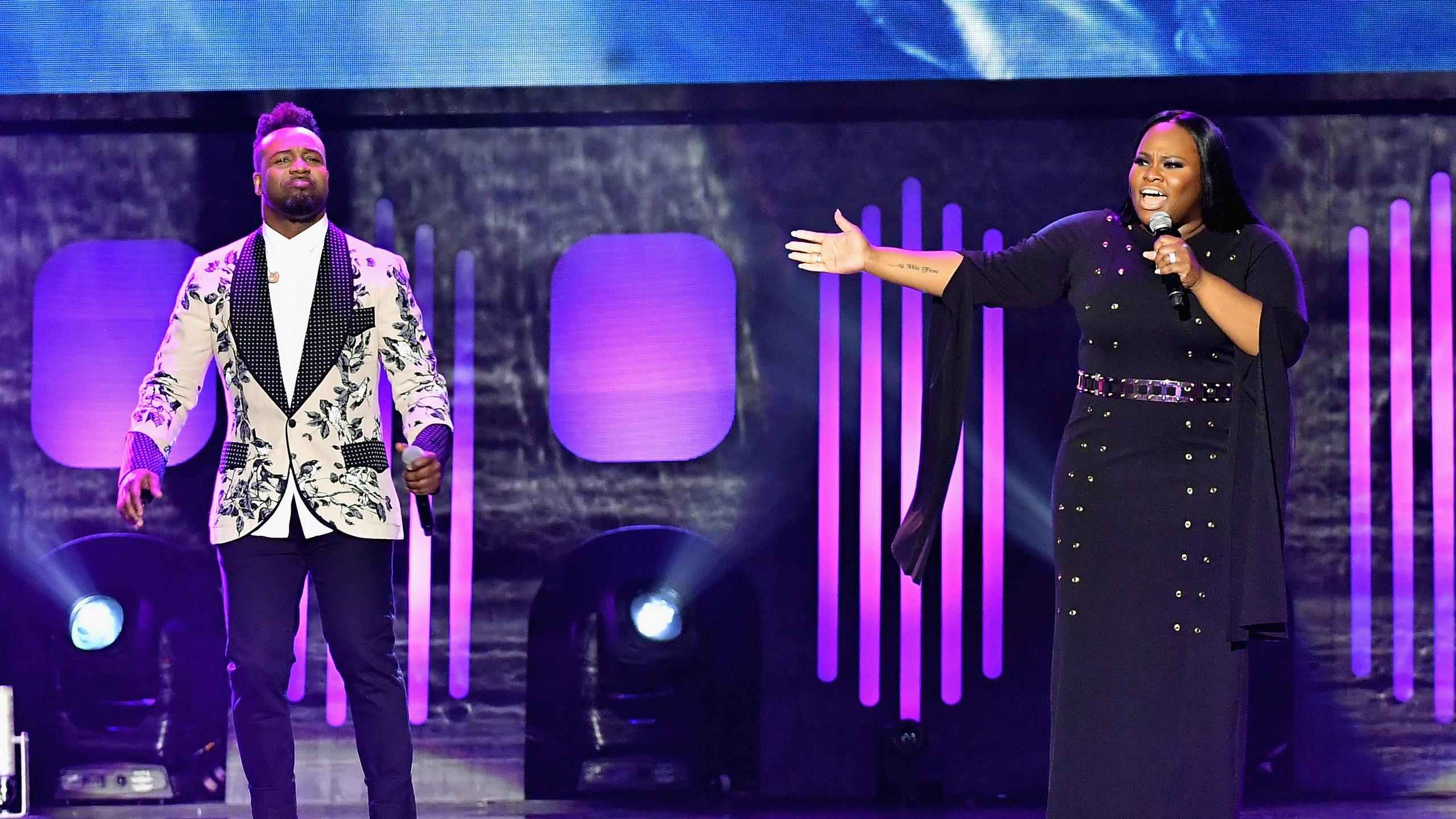 Vashawn Mitchell and Tasha Cobbs Leonard sing
