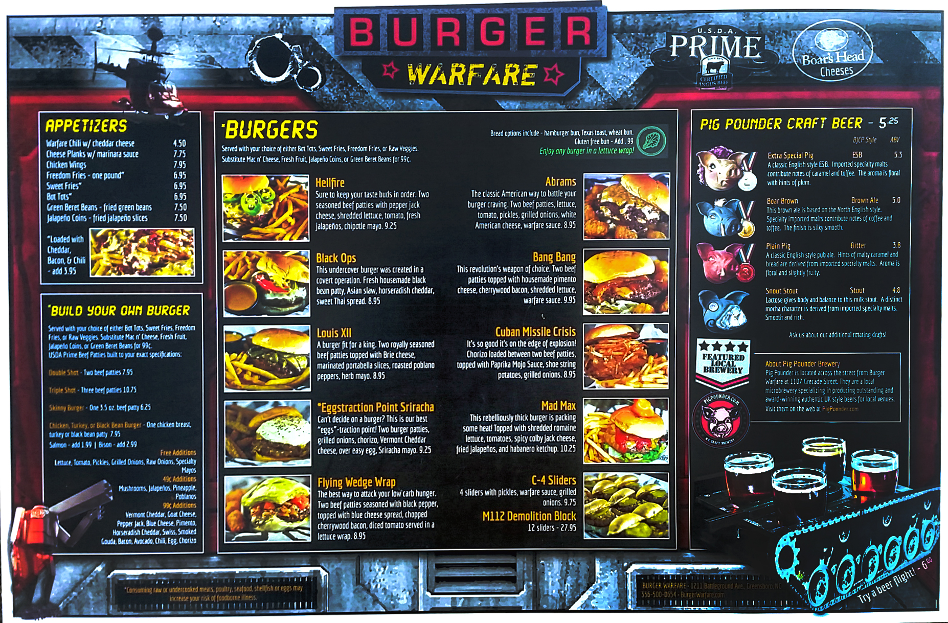 Burger Warfare menu