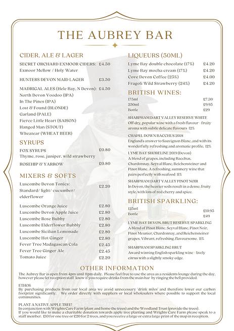 Bath Hotel Lynmouth Menu Cocktails