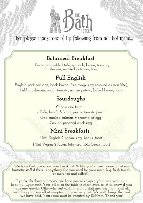 The Bath Hotel Breakfast Menu Lynmouth