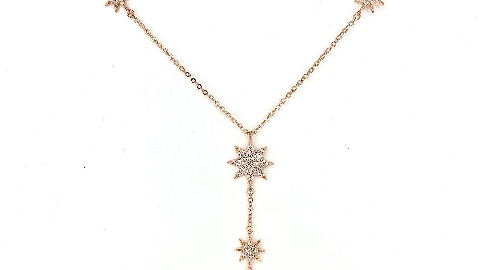 Collar de estrellas en plata rosada