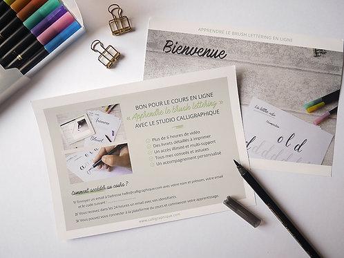 """Bon cadeau cours en ligne """"Apprendre le brush lettering"""""""
