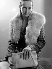 pearl handbag + tweed coat