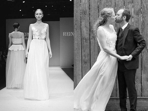 runway to real life: happy couple in reinberger couture