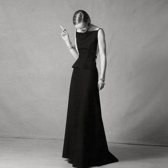 midnight blue woolen gown