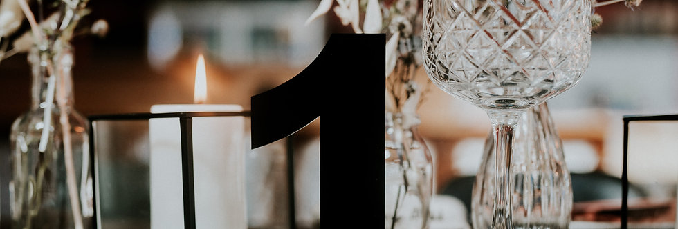 Hire | Black acrylic table numbers