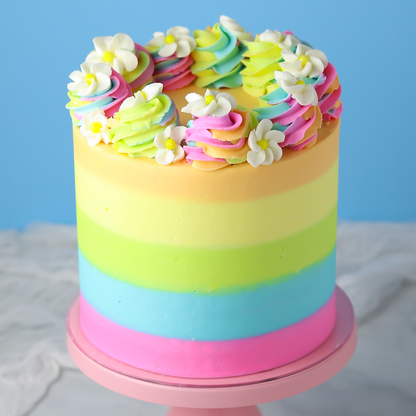 Striped Cake with Cake Design by Sheri