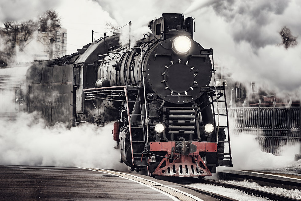 Steam train departs from Riga railway st
