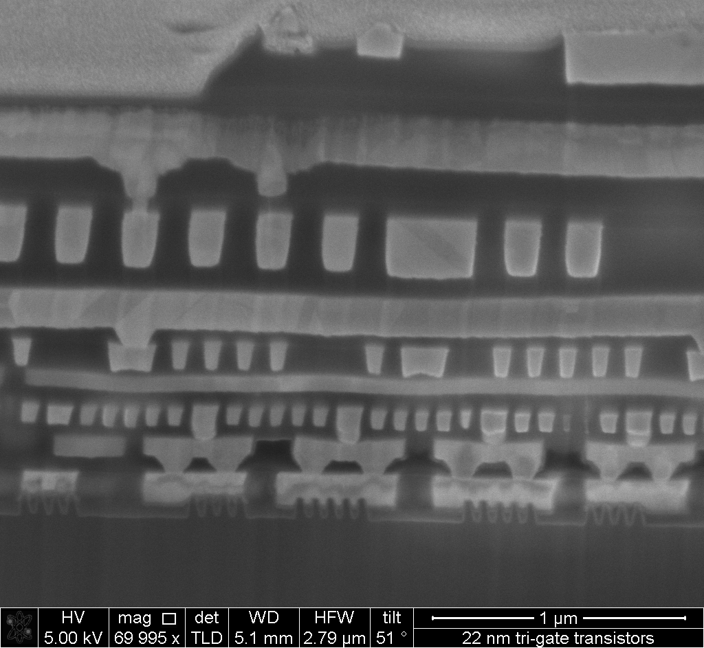 SEM image of a chip cross-section
