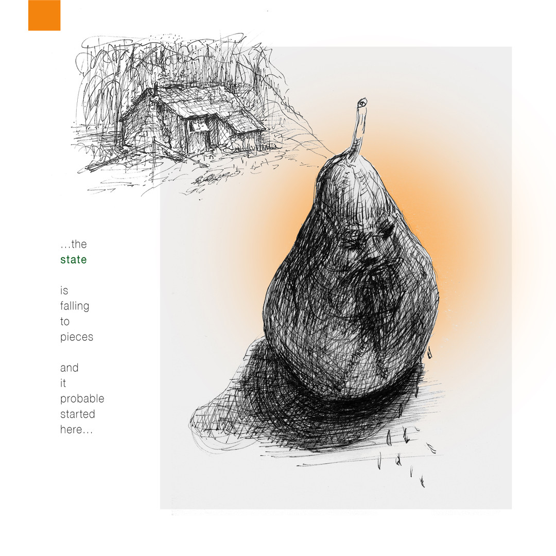 crying pear and hut