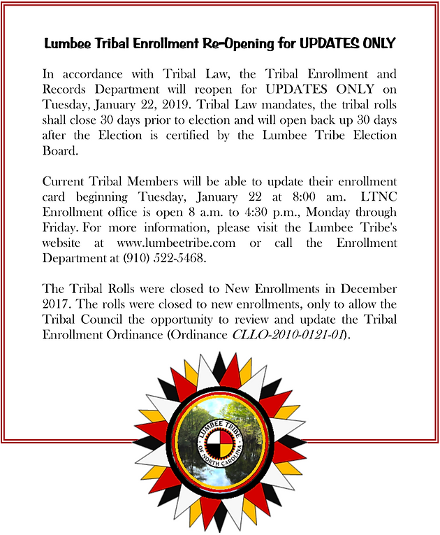 Lumbee Tribal Enrollment Re-Opening for UPDATES Only