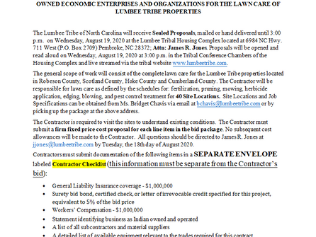 3rd solicitation for Lawn Care RFP