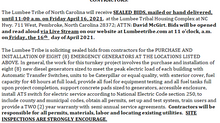 Invitation for the Purchase and Installation of eight (8) Backup Generators with ATS