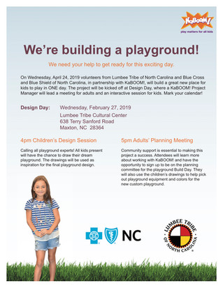 The Lumbee Tribe of North Carolina has been selected for a Build It With KaBOOM! grant opportunity i