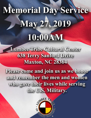 Memorial Day Service, May 27 @ 10AM