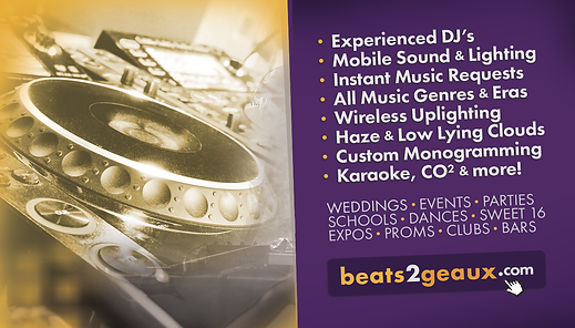 Best Mobile DJ Service in Central Louisiana. Experiance DJ's Mobile Sound and Lighting, Instant Music Requests, All Music Genre's and Eras, Wireless Uplighting, Haze & Low Lying Clouds, Custom Monogramming, Wedding Monogram Projections, Karaoke, Prom DJ, Wedding DJ, Event DJ, Mobile Sound, School Dances, Clubs & Bars