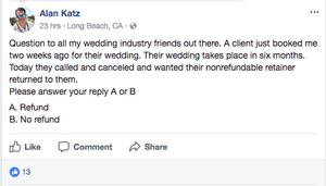 Non-refundable wedding deposits