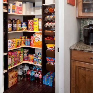 White Corner Shelf Pantry with Chocolate