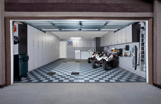 Silver Cabinets in Garage with Swiss Tra