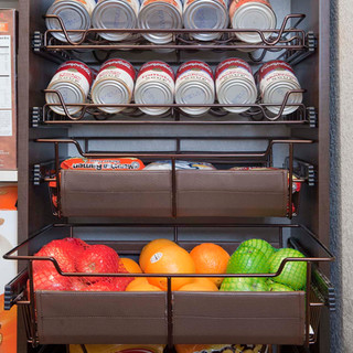 Spice Racks with Cans and Baskets with L
