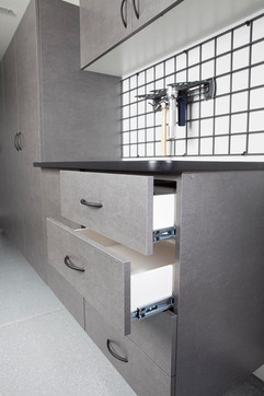 Pewter Workbench with Open Drawers 2012.