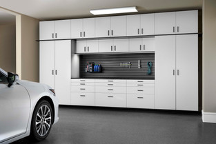 White Cabinets with Ebony Star Workbench