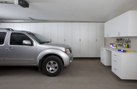 White Garage Cabinets with Workbench-SUV