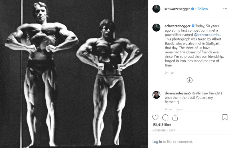 Franco Columbu and Arnold Schwarzenegger Instagram