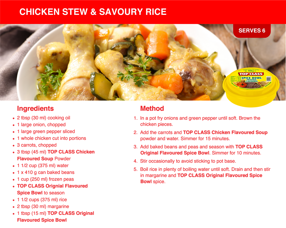 Chicken Stew & Savoury Rice