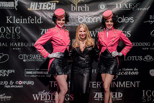 """Bridal Designer Pnina Tornai (TV's """"Say Yes To The Dress"""") with Tryon Entertainment's Cigarette Girls"""