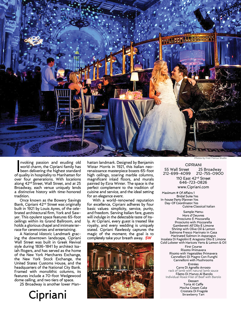 Sophisticated Weddings New York Cipriani