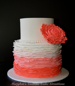 Coral Ombre Frill with Peony